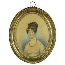 19th Century Portrait Miniature, Beautiful Regency Lady Watercolor, Original Pressed Brass Frame Circa 1815
