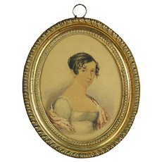 19th Century Portrait Miniature, Regency Lady, Georgian Pressed Brass Frame C 1815