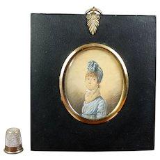 Antique Georgian Portrait Miniature, Lady Blue Dress Turban Circa 1804 English