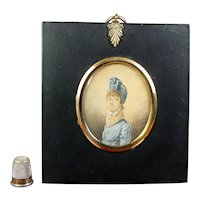 Stunning Georgian Portrait Miniature, Lady Blue Dress Turban Circa 1804 English