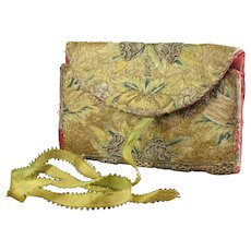 18th century Pocketbook Wallet Lettercase, Profuse Embroidery, French Circa 1760 AF