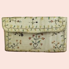 18th Century Pocket Book, French Pocketbook, Embroidered Silk & Spangles, Circa 1780, Georgian AF