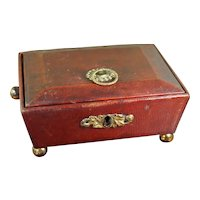 Antique Childs Regency Red Leather Sewing Box, English Jewellery Box Circa 1810 AF