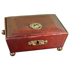 Antique Childs Regency Red Leather Sewing Box, English Circa 1810 AF