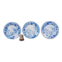 19th Century Miniature Doll Plates Set Of Three, Georgian Blue and White Transferware Rural Ruin Scene Georgian Circa 1830