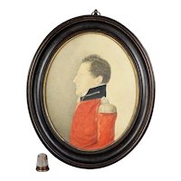 19th Century Georgian Portrait Miniature, Military Gentleman Soldier, Napoleonic Wars Circa 1810