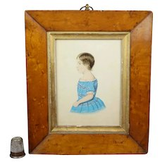 19th Century Portrait Miniature, Young Girl In Blue And White Dress, Birds Eye Maple Frame