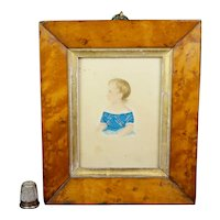 19th Century Portrait Miniature, Child Blue And White Dress, Birds Eye Maple Frame, C 1835