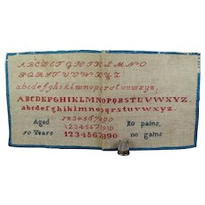 Small Antique English 19th Century Sampler, Circa 1840, Perfect Folk Art Look