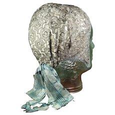 Antique Georgian Metal Lace Cap, Brocade Silk Bonnet, German Circa 1820