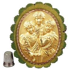 RESERVED TR Rarest Victorian Pen Wipe, Penwiper, Figural Women's Literature, Bronte Sisters English C 1850s