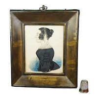 1840s Antique Folk Art Portrait Miniature, Lady Black Dress RARE Pressed Frame American School