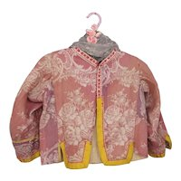 Antique 19th Century Childs Jacket, Gorgeous Pink Damask, The Netherlands, Adorable c 1900