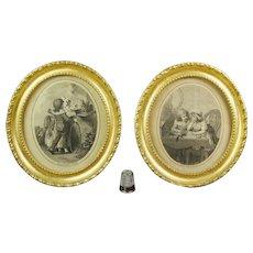 RESERVED VS 18th Century Pair of Squirrel Engravings, Children Toy Hoop, Regency Gilt Oval Frame