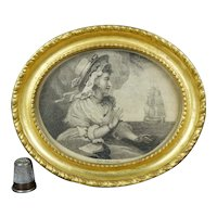 18th Century Miniature Engraving, Sailors Return, Gilt Oval Frame, C 1791 Romantic Naval Maritime