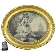 18th Century Miniature Engraving, Sailors Return, Gilt Oval Frame, C 1791 Romantic Naval Maritime