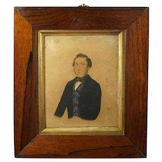 19th Century Folk Art Portrait Miniature, Gentleman Fancy Plaid Vest, By R & W Kerry 1845, Margetts & Tomes Family, Oxfordshire & Leamington Spa