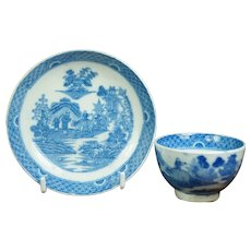 19th Century Miniature Toy Tea Bowl And Saucer, Boy On A Buffalo pattern, Blue and White Transferware Pearlware C 1810