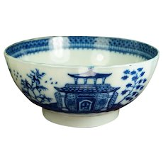 RARE 18th Century Blue And White Bowl, Pagoda Fisherman Pattern English Pearlware, Circa 1790 with provenance