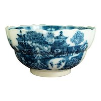 RARE 18th Century Blue and White Transferware Bowl, Pearlware, Chinese Temple Pattern, Good Provenance Circa 1790 AF