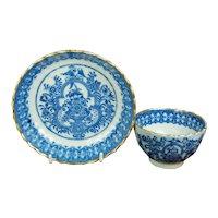 RARE 19th Century English Pearlware Tea Bowl And Saucer, Floral Phoenix Bird Transferware C 1810 AF