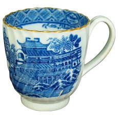 Antique Regency Era Coffee Cup, Blue and White Transferware Pearlware, English, With Provenance Circa 1810 AF