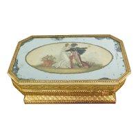 Antique French Mirrored Candy Box, Bonbon Box, Boite a Dragee,  Bonbonniere, Romantic Lovers Hussar, Circa 1820