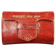 Antique Georgian Miniature Red Leather Book Form Needlecase Pin Cushion, Forget Me Not, Sewing Case PIncushion  C 1830