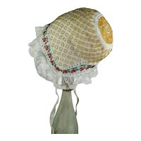 Early 19th Century TINY Knitted Beadwork Christening Cap, New Born Baby, Doll Size, Beaded Bonnet, Circa 1830, Georgian