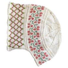Early 19th Century Baby Cap,  Knitted Beadwork Christening Cap, Beaded Bonnet, Circa 1830, Georgian