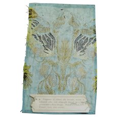 18th Century French Louis XIV Woven Silk Fragment, Museum Document Sample C 1715 AF