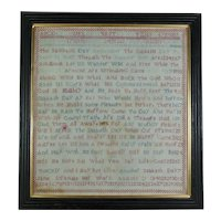 Victorian English Verse Sampler, Jane Strange 1840. Verse, Alphabet and Numbers. The Sabbath, Quirky
