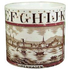Victorian Staffordshire Childs ABC Mug, Copenhagen, Denmark, English Transferware Nurseryware Mug Circa 1880 AF