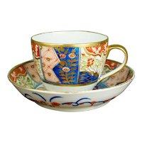 English Regency Porcelain Tea Cup And Saucer, Coalport Imari Pattern, Circa 1810