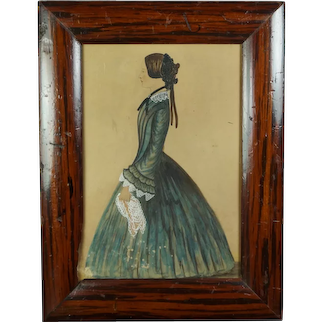 19th Century Folk Art Portrait, Young Lady In Green Dress With Handkerchief - Jodie, C 1845, Victorian Faux Grain Painted Frame