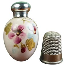 19th Century English Miniature Porcelain Egg Scent Bottle, Sterling Silver Topped, Chester 1892