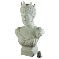 Stunning Antique Parian Bust of English Queen Alexandra, By Robinson and Leadbeater, Dated 1901, British Royal Fashion Guru