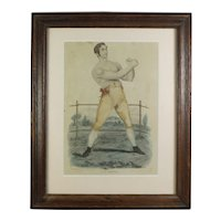 19th Century English Bare Knuckle Boxing Engraving, Pugilist Print, Boxer Cy Davis By Percy Roberts Circa 1820, RARE