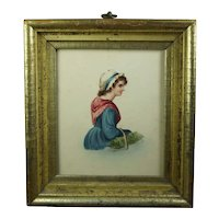 Georgian Miniature Portrait, Watercolor of a Lady, Circa 1830, lemon Gilt Frame