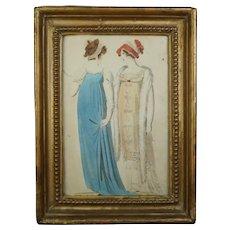 19th Century Small Regency Fashion Engraving,  Hand Colored Ladies Costume, Circa 1810