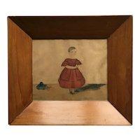 19th Century John Church Dempsey Portrait, English Naïve School, Girl Red Dress and Pull Toy, Folk Art, 1830s