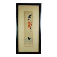 English 19th Century Military Engraving, 50th Regiment of Foot Soldier C 1800