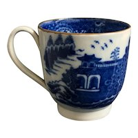 19th Century Georgian Cup, Blue And White Pearlware Transferware, Long Bridge Chinoiserie, English C 1810