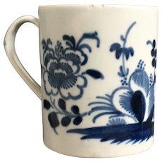 Mid 18th Century Pennington Liverpool Porcelain Coffee Can, Blue and White Cup Mug, Circa 1765, English Georgian