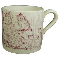 Rare Louis Wain Victorian Staffordshire Mug, Three Kittens, Children's Cat Mug, Nursery Ware Circa 1880 AF