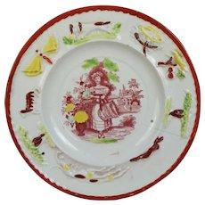 19th Century Children's Plate, Girl Flower Picker, Spaniel Dog Border Circa 1830 AF