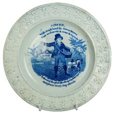19th Century Regency Nursery Plate, Blue and White Pearlware, The Sower, Bread Making Children's Pottery Circa 1820 AF