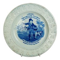Antique Regency Nursery Plate, Blue and White Pearlware, The Sower, Bread Making Children's Pottery Circa 1820 AF