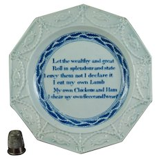 19th Century Blue and White Pearlware Childrens Plate, God Speed the Plough, Staffordshire C 1820, AF
