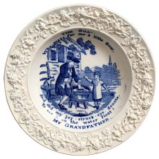 Antique Regency Childs Nursery Plate, My Grandfather Boat, Sailing, Cat Toy, Blue and White Transferware, Circa 1820